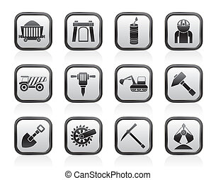Mining and quarrying industry icons - Mining and quarrying...