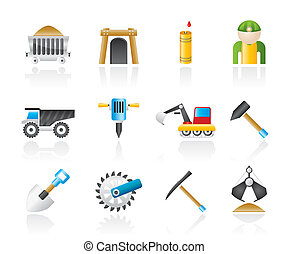 Mining and quarrying industry objects and icons - vector...