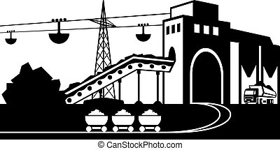 Mining and quarrying industry scene - vector illustration