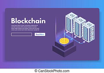 Mining Bitcoin farm ultraviolet isometric concept. Vector illustration.