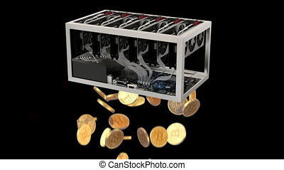 Mining, Bitcoin Farm with Graphic Cards, seamless looped 3d...