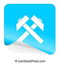 mining blue sticker icon