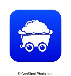 Mining cart icon blue