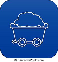Mining cart icon blue vector