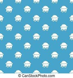 Mining cart pattern vector seamless blue