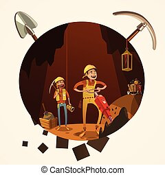 Mining cartoon illustration - Mining concept with manual...