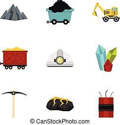 Mining coal industry icons set, flat style