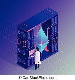 Ethereum farm concept. - Mining crypto. Ethereum farm...