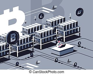 Crypto mining isometric illustration  Human characters during crypto