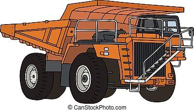 Hand drawing of an orange heavy mining dump truck