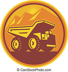 Illustration of a mining dump dumper truck lorry viewed from side set inside circle done in retro style on isolated background.
