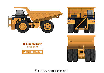 Mining dumper on white background. Back, side and front view. Heavy truck image. Industrial 3d drawing of cargo car. Diesel automobile blueprint