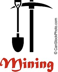 Mining emblem or badge with black silhouettes of a pick-axe ...