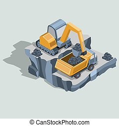 Mining excavator loads coal in a dump truck isometric vector...