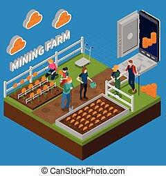 Mining Farm Isometric Composition