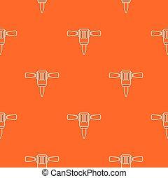 Mining hammer drill pattern vector orange