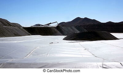Mining Heap Leach Pad - The HDPE liner of a mining heap...