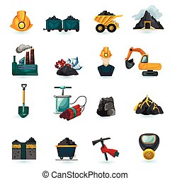Mining Icons Set - Mining industry gold coal and minerals...