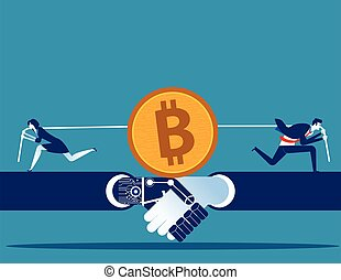 mining., illustration., cryptocurrency., vektor, emberek, verseny, ügy, bitcoin, fogalom