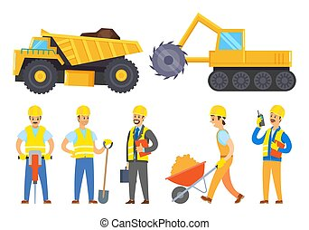 Collection of machinery and characters working in mining industry. Isolated personages with tools and instruments for work. Tractor loaded with soil and coal. Machine set for excavation vector