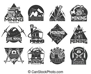 Mining industry, coal extraction icons