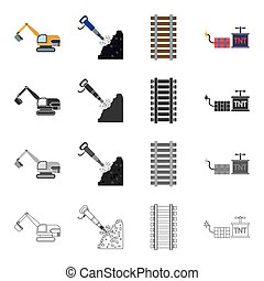 Equipment, mail, transportation and other web icon in