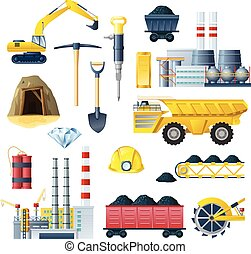 Mining insudtry isolated colorful elements set with realistic images of different factory technics and tools symbols vector illustration