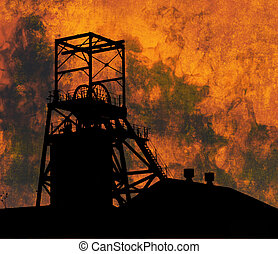 Mining Industry - Illustration of a pithead winding gear ...