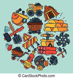 Mining industry round pattern vector illustration. Profession and occupation. Coal mining equipment, miner tools. Special machinery. Equipment for mining underground operation dynamite, jackhammer.