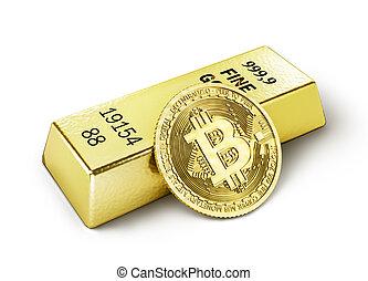mining., isolé, illustration, bitcoin, white., monnaie, 3d