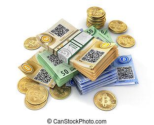mining., isolato, illustrazione, bitcoin, white., moneta, 3d
