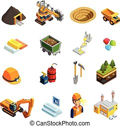Mining Isometric Icons Set - Mining isometric icons set with...