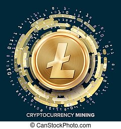 Mining Litecoin Cryptocurrency Vector. Golden Coin, Digital...