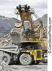 Mining - Loading the iron ore into heavy dump truck at the ...