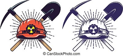Mining logo with helmet pick and shovel in retro vintage style