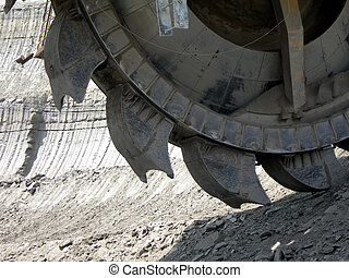 Mining machine - Great mining wheel of coal digger...
