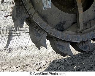 Mining machine - Great mining wheel of coal digger...