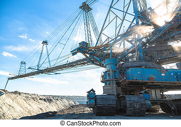 Mining machinery in the mine