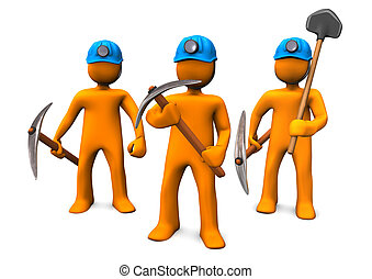 Three orange cartoon characers as mining men.