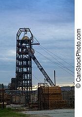 Mining mine headgear - South African gold mine industrial...