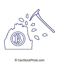 Mining of bitcoins. Digital currency.