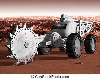 Mining on Mars - Huge Martian excavator exploiting resources...