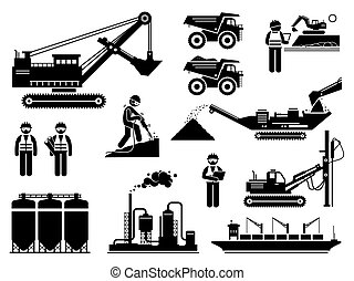 Mining quarry site workers and heavy machinery icons set.