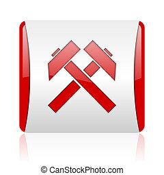 mining red and white square web glossy icon