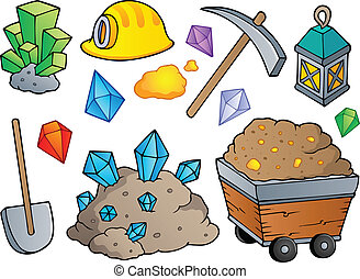 Mining theme collection 1 - vector illustration.