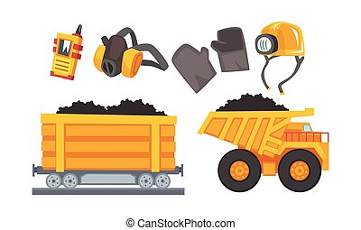 Mining Tools Vector Set. Coal and Other Minerals Extraction ...