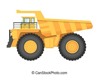Mining truck isolated on white background - Big and heavy ...