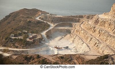Mining - video footage of open mining, crete, greece