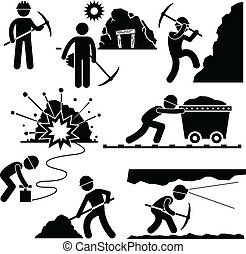 A set of pictograms representing mining worker working hard in the mining area.