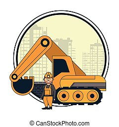 Mining worker with backhoe over cityscape round icon vector...